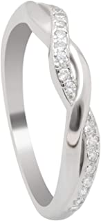 Queena Twisted Sterling Silver Anniversary Wedding Band Ring