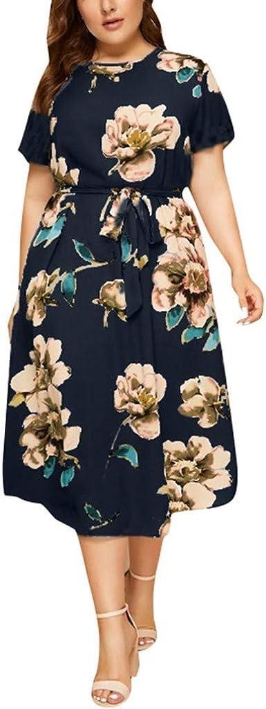 iQKA Women Casual Plus Size O-Neck Short Sleeve Floral Maxi Dress Vestidos de Mujer Elegante Loose Long Dress