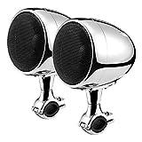 Aileap Todo en uno Amplificador Integrado Sistema de Audio de Motocicleta 4' Altavoces de Alcance Completo Impermeables Bluetooth Estéreo MP3 con AUX para 7/8 a 1,25' Bar Harley ATV UTV RZR (Cromo)