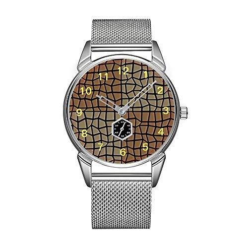 Mode herenhorloge zilver roestvrij staal waterdicht horloge mannen top merk herenhorloge ruimte tegels mozaïek patroon horloges