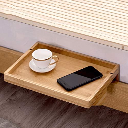 TFlower Bettablage, Mini-Nachttisch zum Anklemmen, aus Bambus, platzsparend, Kabelschlitze, 36 x 25 x 9cm
