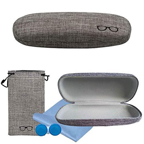 SwirlColor Brillenetui Kinder, Brillenetui Grau Leinen Retro Brillenetui für Damen Damen Mädchen Jungen Herren mit Brillenetui, Brillenputztuch, Kontaktlinsenetui 4-TLG