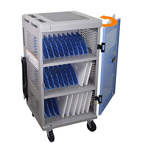 30-Unit Heavy Duty Fully Assembled Charging Cart with Cord Management - Electric Keypad Lock & Automatic Flush Bolts - Fits Portable Computer,...