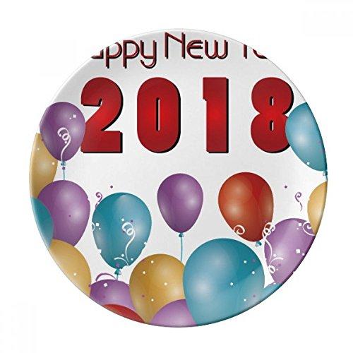 DIYthinker 2018 Ballon Jaar Van De Hond Gelukkig Nieuwjaar Decoratieve Porselein Dessert Plate 8 inch Diner Thuis Gift