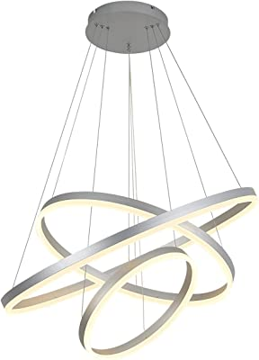 LED Pendant Chandelier for Living Room Dining Room, 3000k, Silver, by ROYAL PEARL