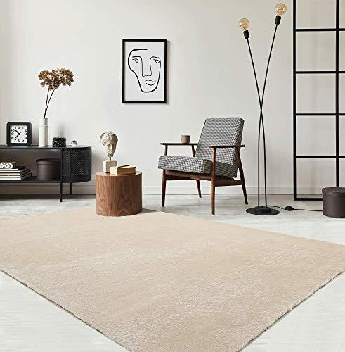 the carpet Relax Moderner Flauschiger Kurzflor Teppich, Anti-Rutsch Unterseite, Waschbar bis 30 Grad, Super Soft, Felloptik, Beige, 160 x 230 cm