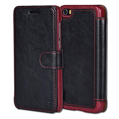 Mulbess Handyhülle für Huawei Honor 6 Hülle Leder, Honor 6 Handytasche, Layered Flip Schutzhülle für Huawei Honor 6 Case, Schwarz