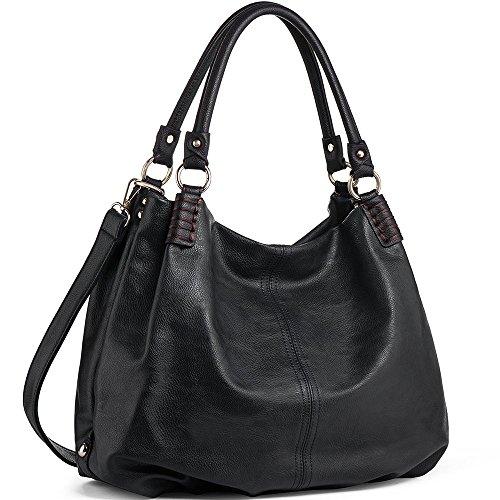 WISHESGEM Handtaschen Damen Schultertaschen Umhängetaschen Große Crossbody Hobo Taschen Damen PU Leder Henkeltaschen Shopper (L31CM * W15CM * H28CM) Schwarz