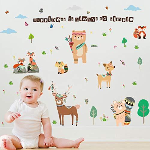miaoqiushiyi Bande Dessinée 157 * 110 Cm Stickers Animaux Amicaux pour Chambre d'enfants Ours Cerf Fox Forêt Animaux Home Decor pour Enfants Heureux Autocollant