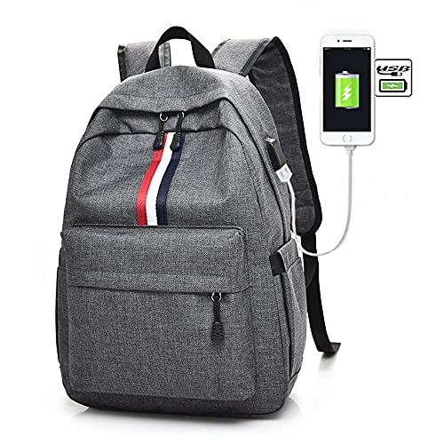 ZHBH Mochila de Ocio de Viaje Simple de Moda con Mochila de Carga USB Mochila de Gran Capacidad Impermeable y Transpirable Mochila de Lona Juvenil (Color: B)
