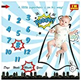 Baby Monthly Milestone Blanket for Newborn Boy & Girl, Personalized Infant Swaddle Receiving Blankets Photography Backdrop Photo Prop - New Mom Frame (Superhero Blanket, 40' x 40'
