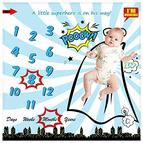 """Baby Monthly Milestone Blanket for Newborn Boy & Girl, Personalized Infant Swaddle Receiving Blankets Photography Backdrop Photo Prop - New Mom Frame (Superhero Blanket, 40"""" x 40"""""""
