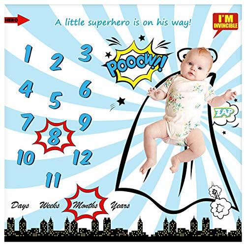 Manta mensual para bebé recién Nacido y niña, Manta de recepción Personalizada para fotografía, telón de Fondo de fotografía – Regalos para Baby Shower + Marco (Manta de superhéroe, 40 x 40 Pulgadas