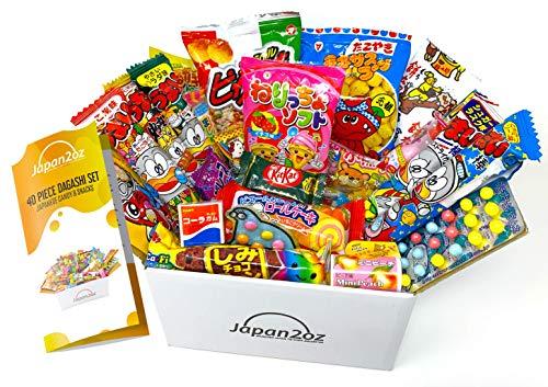 Japanese Snacks & Candy Box Japan2oz Dagashi Snack 40 Piece Gift Set English Pamphlet
