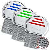 Lice Combs - (Pack of 3) Head Lice Treatment Comb Each Individually Package to Prevent Contamination Professional Stainless Steel Louse and Nit Combs Removes Eggs with Rounded Tips for Comfort