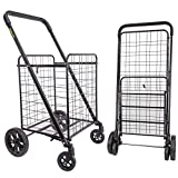 dbest products Cruiser Cart Deluxe 2 Shopping Grocery Rolling Folding Laundry Basket on Wheels Foldable Utility Trolley Compact Lightweight Collapsible, Black