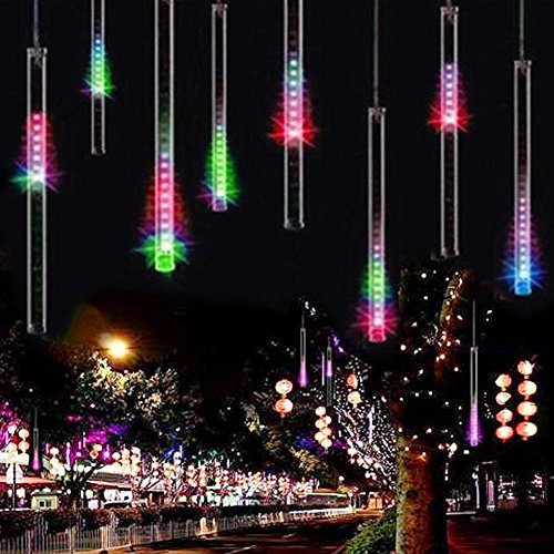 Rain Drop Lights, Aukora LED Meteor Shower Lights 11.8 inch 8 Tubes 144leds, Icicle Snow Falling Lights for Xmas Wedding Party Holiday Garden Tree Christmas Thanksgiving Decoration Outdoor Multi Color