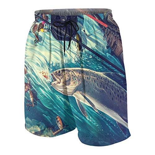 NOLOVVHA Hombres Personalizado Trajes de Baño,Acerca de la Pesca rodeada de Accesorios de Pesca,Casual Ropa de Playa Pantalones Cortos