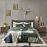 """Woolrich 100% Cotton Quilt Reversible Plaid Cabin Lifestyle Design All Season, Breathable Coverlet Bedspread Bedding Set, Matching Shams, Full/Queen(92""""x96""""), Mill Creek, Green"""