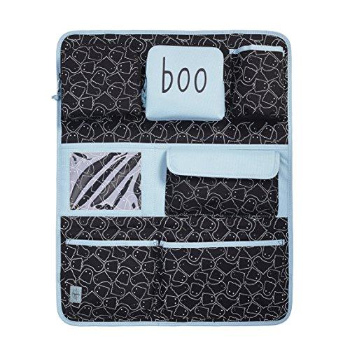 LÄSSIG Autoorganizer Mädchen Autorücksitzorganizer Rücksitztasche für Auto oder Kinderzimmer zum Hängen zusammenklappbar / Car-Wrap-to-Go, Spooky Black, 55 cm