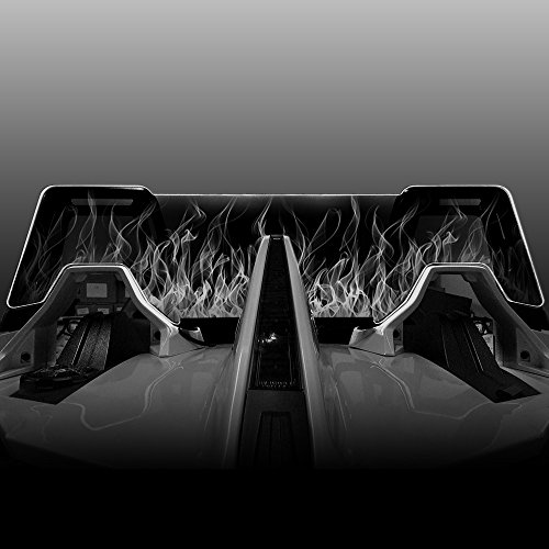 Windrestrictor Color Changing LED Illuminating Wind Deflector for 2014-Present Polaris Slingshot Convertible with Laser Etched Flame Graphic