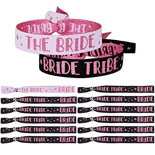 MEJOSER 12pcs Pulseras The Bride + Bride Tribe Equipo de Novia para Despedida de Soltera Boda Decoración Accesorios Disfraces Fiesta