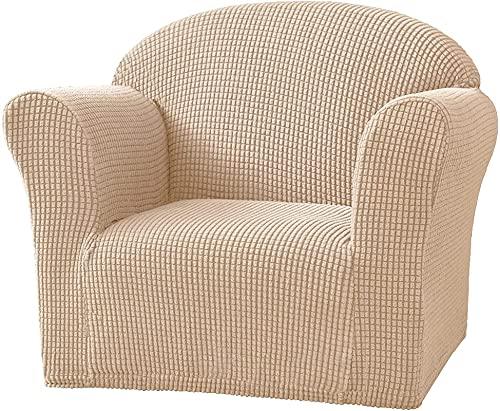 GYTH Funda para sofá de 1 asiento, suave, de color sólido, elástica, tamaño mini, funda protectora para sofá para silla de niños (color caqui, tamaño: 2 piezas)