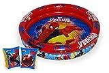 Saica - Set de Piscina y Manguitos Hinchables para Niños y Niñas - Spiderman - Medidas Piscina 90 cm Diámetro. Manguitos 15x25 cm