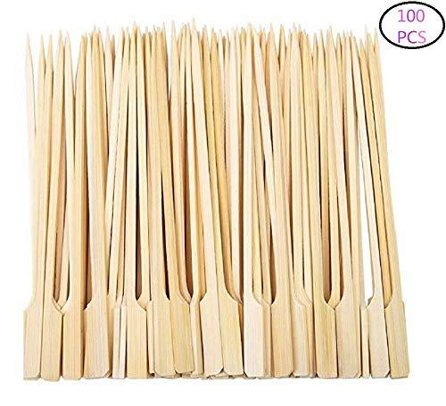 Diligencer 100 Stücke Bambus Paddel Spieße Natürliche Holzstäbchen für Barbecue Cocktail Kaffee Picknicks Im Freien Garten Buffets Catering Party Bar (25 cm)