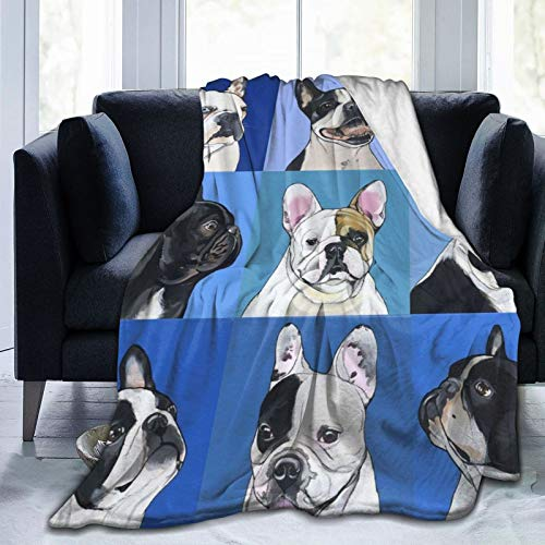 NiYoung Super Soft Warm Comfy Wearable Blanket Fashion Cozy Flannel Fleece Large Throw Blanket Wrap for Couch Bed Sofa - French Bulldog Boston Terrier Art, 50x40 Inch