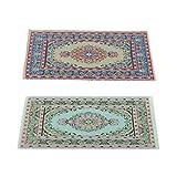 Homyl 2 Stücke Miniatur Boden Decke Teppichdecke Teppich für 1/12 Puppenhaus Zubehör