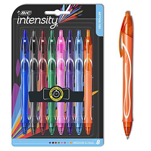 BIC Intensity Quick Dry Gel-Roller (0, 7mm) in verschiedenen Farben – Bunte Gelstifte zum Schreiben oder Zeichnen – Fester Griff für maximalen Schreibkomfort – 8er Set