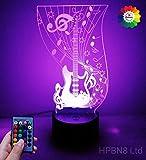 3D Guitare Electrique LED Lampe Art Déco Lampe LED 3D Lampe Contrôle à distance 7/16 Couleurs Change Veilleuse USB Powered Enfants Cadeau Anniversaire Noël Cadeau