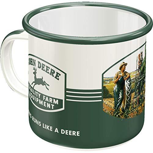 Nostalgic-Art 43208 Retro Emaille-Becher John Deere – Farm Equipment – Geschenk-Idee für Traktor-Fans, Camping-Tasse, 360 milliliters, Vintage Design, Vintage Design, 360 Ml