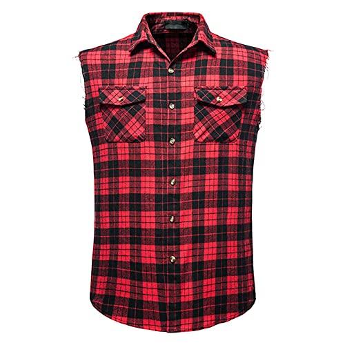 SSBZYES Camisa para Hombre Camisa Sin Mangas De Verano Camisa De Talla Grande para Hombre Camisa a Cuadros Camisa De Franela Sin Mangas Chaleco De Talla Grande De Algodón