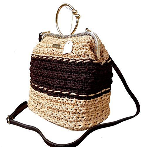 Damen Vintage braun- beige Handtasche, Umhängetasche mit Muster, Gestrickte Tasche mit Kisslock