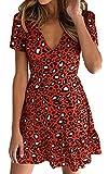 ECOWISH Womens Deep V Neck Floral Leopard Dress Short Sleeve Sexy Ruffles Fashion Mini Dress Red M