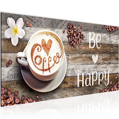 Bilder Küche Kaffee Wandbild 100 x 40 cm Vlies - Leinwand Bild XXL Format Wandbilder Wohnzimmer Wohnung Deko Kunstdrucke Braun 1 Teilig - MADE IN GERMANY - Fertig zum Aufhängen 020712a