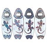 CAPRILO. Lote de 12 Decorativos Abridores de Madera Tabla de Surf Lagarto Surtidos. Recuerdos. Destapadores. Regalos Originales.Detalles de Bodas, Comuniones, Bautizos, Cumpleaños.