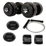 MSPORTS Fitness - Set für den ganzen Körper - 30 kg Kurzhantelset - 1 Paar drehbare...