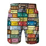 CLYADMO Bañador de Hombre,Fondo Maletas Coloridas Diseño Temático Vintage Viaje Viaje Vacaciones,Natación Secado Rápido Pantalones Cortos Shorts de Playa para Swim L