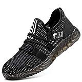 Djpcvb Zapatos de Seguridad Calzado de Seguridad Calzado de construcción Industrial para Hombre Transpirable Antivibrante Antivibrante Zapatillas de Deporte de Seguridad de Verano con Fondo Suave