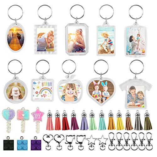 50PCS Clear Acrylic Blank Photo Picture Frame Keychain,Assorted Transparent Photo Keychain with Tassels Bulk for Keychain,Clear Picture Keychain as Gift