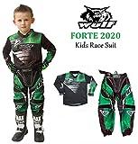 Traje de carreras para niños WULFSPORT FORTE 2020 Motocicleta Quad Pit Bike ATV BMX Niños Junior Motocross Verde Jersey y pantalones