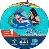 SwimWays Inflatable Infant Baby Spring Swimming Pool Float with Canopy, Blue