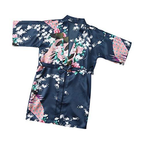 2T 7T Niño Bebé Niñas Seda Floral Satén Kimono Batas Albornoz Ropa de Dormir Suave Verano (Navy,3T)
