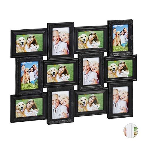 Relaxdays Marco Collage para 12 Fotos, Formato Horizontal o Vertical, Pared, Plástico, 54 x 70 cm, Negro