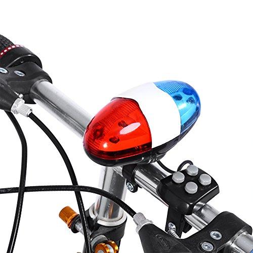 Fahrrad Warnlicht für Erwachsene & Kinder, LED-Licht + 4-Ton-Fahrradsicherheitshupe,Polizei Sirene Fahrrad Trompete für Mountainbike