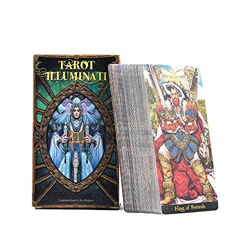 fridaymonga Tarot Illuminati Kit Tarotkarten, 78 Blatt Tarotkarten Und Reiseführer Energie Oracle Karten Deck Divination Kartenspiele Brettspielkarten Für Home-Party-Spiele, Englisch
