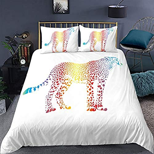 Bcooseso Kids Quilt CoverColored wild animal leopard Duvet Cover Fashion Multi-Colour Duvet Cover Comfortable 3D Print Duvet Cover Girls Boys Breathable Bedding Set with Pillowcase 3 Pieces (Single s